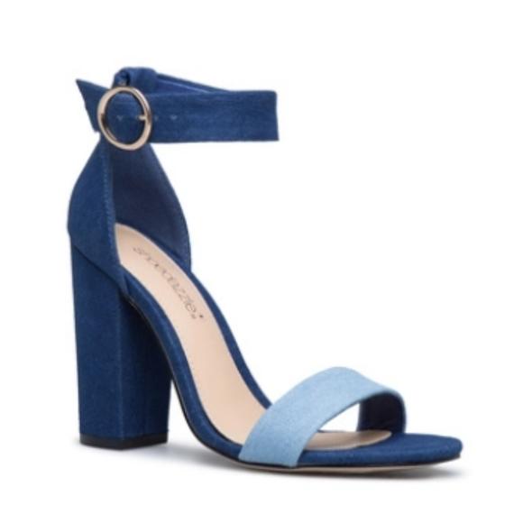 Two tone denim heeled sandal
